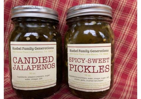 Spicy Sweet Pickles and Candied Jalapenos for SALE while supplies last.